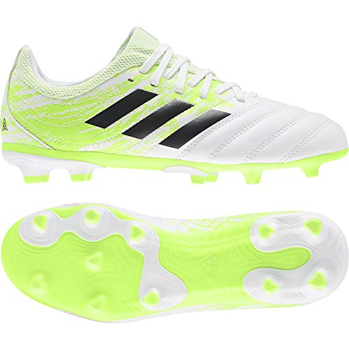 adidas Copa 20.3 FG J, Zapatillas de fútbol para Niños, FTWR White/Core Black/Signal Green, 38 EU