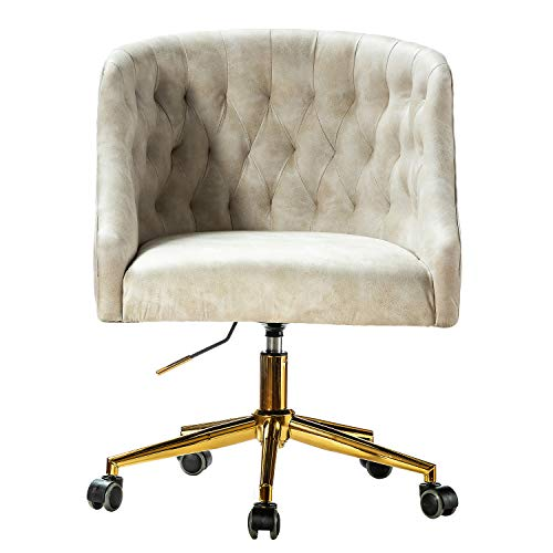 Home Office Arms Task Chair with Swivel for Study Bedroom Desk Chair - Beige