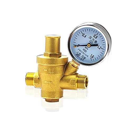 """HGFHGD Einstellbares Druckminderventil DN15 1/2""""Außengewinde Dickes Messing-Manometer-Regelventil mit Manometer"""