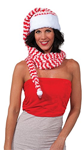 Rubie's Men's Clausplay Candy Cane Striped Long Hat and Scarf, Red/White, One Size