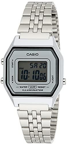 Casio Reloj Digital para Mujer de Automático con Correa en Acero Inoxidable Chapado en Platino LA-680WA-7