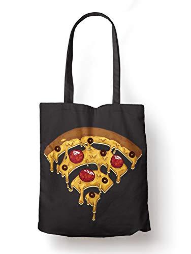 BLAK TEE Funny Pizza Wi Fi Illustration Organic Cotton Reusable Shopping Bag Black