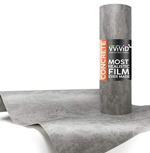 VViViD Grey Concrete Textured Finish Vinyl Sheet Film (16 Inch x 6.5ft)