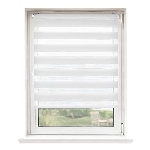 Doppelrollo, Rollos Für Fenster Ohne Bohren, Seitenzugrollo Easyfix, Klemmfix ohne Bohren, Sonnen- und Sichtschutz für Fenster und Tür Weiß, 40 x 130 cm