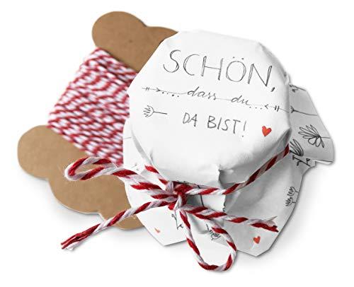 25 Mini Marmeladendeckchen - schön, DASS du da bist - Gläserdeckchen Weiß mit Blumen für Marmelade, kleine Marmeladengläser & Einmachgläser, Recyclingpapier Abreißblock + 10 m Garn + Justiergummi
