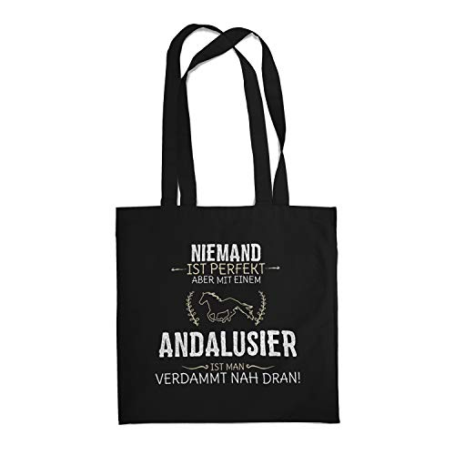 Fashionalarm Stoffbeutel - Niemand ist perfekt - Andalusier | Fun Beutel Baumwoll-Tasche mit Spruch lustige Geschenk-Idee Pferde-Liebhaber Reiten, Schwarz One Size