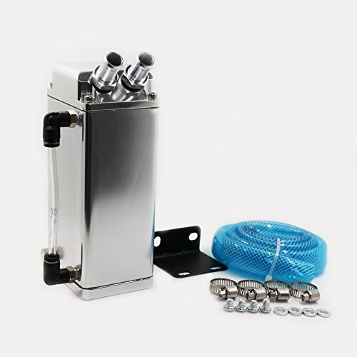 Modauto - Depósito Aceite de Coche, Decantador de Aceite, Captura de Aceite de Motor, Aluminio Pulido, Cuadrado, Boquillas Grandes, Modelo E084SV, Color Plata