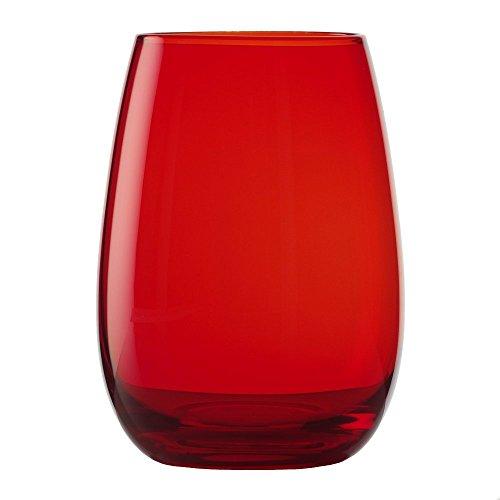 STÖLZLE LAUSITZ verres pour boire ELEMENTS 465 ml rouge I lot de 6 I service de verres lavables au lave-vaisselle I haute résistance à la casse I verres universels comme verres à eau, jus, whisky