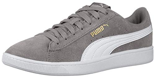 Puma Women's Vikky Soft Foam Comfort Casual Suede Sneakers (Grey, 8.5)