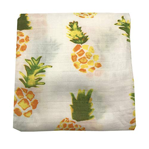 HGHG Soft Bamboo Cotton Muslin Baby Blankets Bedding Infant Swaddle Towel Multifunctional Envelopes 47x47 Baby Pineapple Swaddle Blanket (Pineapple)