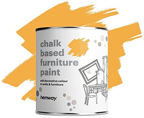 Hemway Matt Shabby Chic Chalk Based Mobili Paint 1L morbida Yellow Sunshine Adatta per interni Mobili, Armadi, scaffali, tavoli e sedie, secchezza rapido Chalky finitura liscia touch
