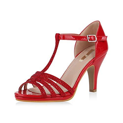 SCARPE VITA Damen Pumps Sandaletten Leder-Optik Riemchensandaletten Strass Metallic Party Schuhe Elegante Stiletto Mid Heels 168104 Rot Red 40