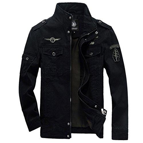 GWELL Herren Jacke Fliegerjacke Übergangsjacke Bomberjacke Militär Piloten Jacket für Winter Herbst Frühling Schwarz -M (EU M = Tag XL)