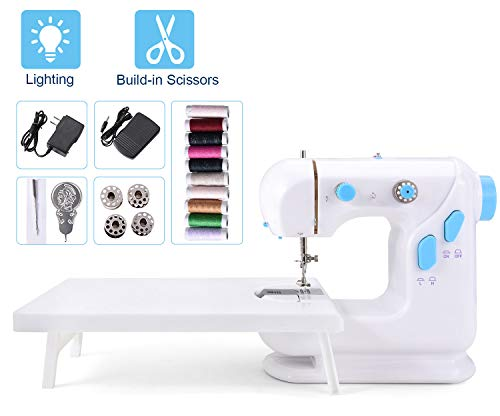 Suteck Mini Sewing Machine for Beginners Portable Electric Sewing Machines with Extension Table, Bonus 10 Thread Spools