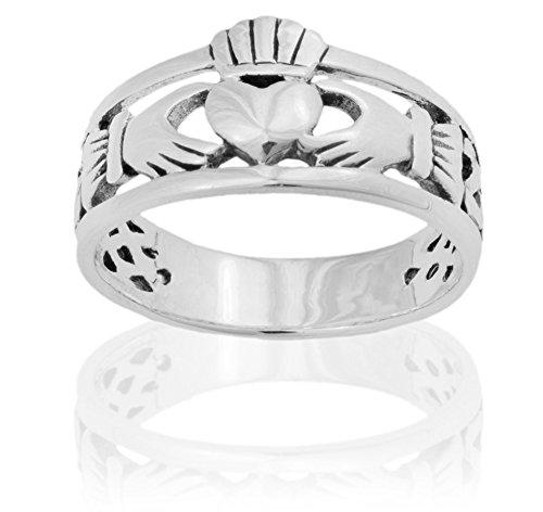 DTPsilver - Damen - Ring 925 Sterling Silber Keltisch/Claddagh Herz
