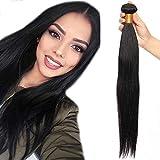 20'(50cm) SEGO 10A Extensiones de Cortina Cosidas de Pelo Natural Humano Brasileño [Straight] 100% Remy Brazilian Human Hair Bundles Liso [1 Bundle,#1B Negro Natural]