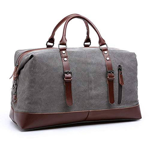 Large capacity canvas plus leather portable travel shoulder bag, suitable for the weekend and business trips, short trips, long trips, can hold a lot of necessities (gray)