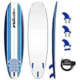 """the wavestorm 7ft surfboard dimensions are 7' x 22"""" w x 3"""" thick - weight is 10.2lbs - volume at 70 liters triple stringer system gives the foam core rigidity , strength, and integrity. patented u.v. inhibiting soft graphic deck and high density slic..."""