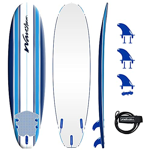 Wavestorm - Classic Soft Top Foam 7ft Surfboard Surfboard for Beginners and All Surfing Levels Complete Set Includes Leash and Multiple Fins Heat Laminated, Blue Pinline (AZ22-WSSF700-PIN)
