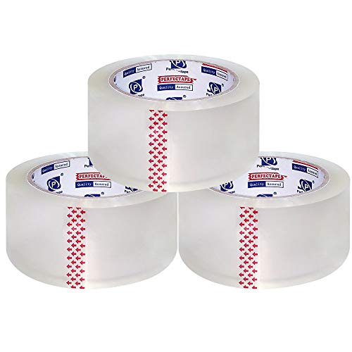 PERFECTAPE Heavy Duty Packing Tape 3 Rolls, Total 180Y, Clear, 2.8 mil, 1.88 inch x 60 Yards, Ultra Strong, Refill for Packaging and Shipping