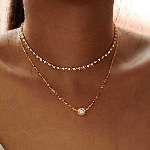 Forall Boho Collar Con Capas De Diamantes De Imitación Cadena De Gargantilla Con Colgante De Perlas Doradas Cadena De Clavícula Delicada Para Mujeres y Niñas