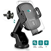 Wireless Car Charger Mount Auto-Clamping Car Phone Holder Wireless Charger PHYSEN QI 10W Fast Charging Car Mount on Air Vent Dashboard or Windshield for iPhone 8/8 Plus/X/XS,Samsung,Galaxy S10/S10+/S9