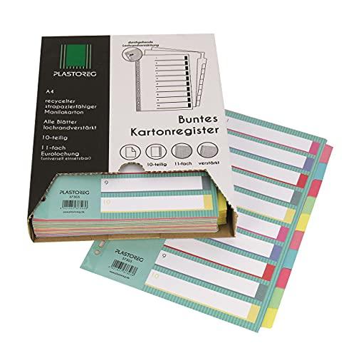 15er Pack 10-teiliges DIN-A4 Register/Trennblätter aus recyceltem Karton, in praktischer Spenderbox, verstärkte Lochung mit Deckblatt, Trenn-Blätter in 5 Farben für die perfekte Ordner-Organisation