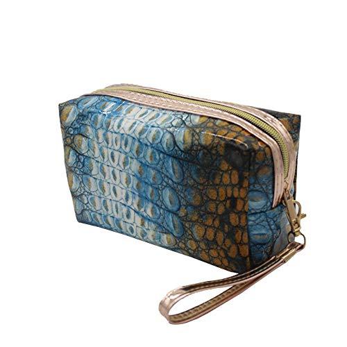 FRTU Trousse de toilette Crocodile carré modèle ladies fashion embrayage sac étanche portable grande capacité multifonctions voyage sac cosmétique bleu