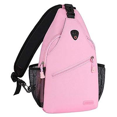 MOSISO Sling Backpack, Multipurpose Crossbody Shoulder Bag Travel Hiking Daypack, Light Pink
