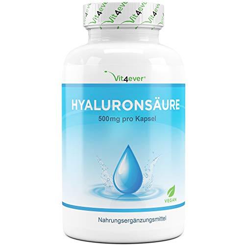 Vit4ever® Hyaluronsäure 500 mg - 120 Kapseln - Molekülgröße 500-700 kDa - Laborgeprüfte Reinheit - Hyaluron aus Fermentation - Vegan - Hochdosierte Hylaronsäure