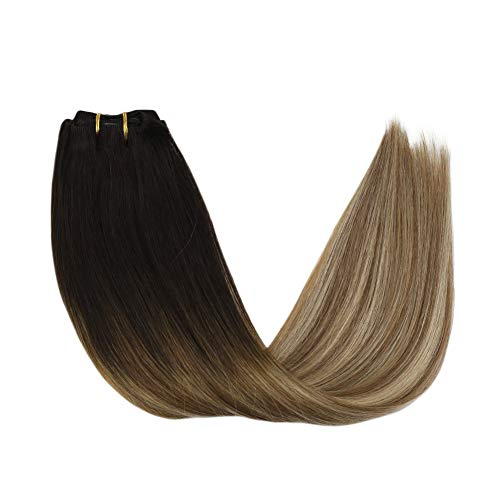 Sunny 7pcs/120g Remy Extensions Echthaar Clip in 60 cm- Balayage Clip Extensions Echthaar Dunkelstes Braun bis Mittelbraun mit Blond - Full Head Clip in Human Hair Extensions