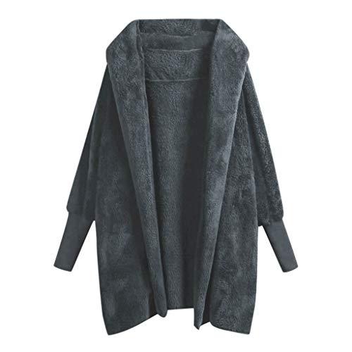 Vrouwen Winter Warm Sweater, Dames Lange Mouw Katoen Pluche Jas Casual Hooded Open Front Effen Kleur Jas Mode Trend Wilde Jas