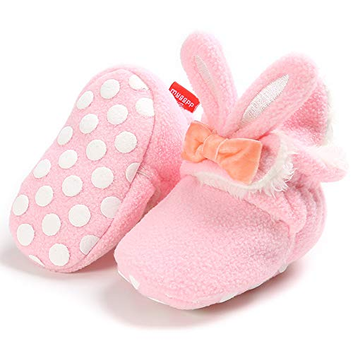 HsdsBebe Unisex Newborn Baby Cotton Booties Non-Slip Sole for Toddler Boys Girls Infant Winter Warm Fleece Cozy Socks Shoes Rabbit-pink, 0-6 Months Infant
