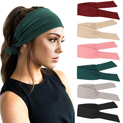 DRESHOW 6 Pièces Bandeau Cheveux pour Femme Yoga Courir Bandeaux Sport Entraînement Bandeaux Mignon Accessoire