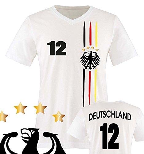 Comedy Shirts - WM 2018 | M1 | VORNE + HINTEN | 12 - Herren V-Neck T-Shirt - Weiss/Schwarz-Rot-Gelb Gr. L