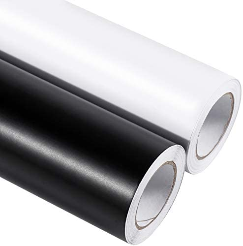 Self Adhesive Vinyl 2 Rolls of 12in by 20ft Matte Permanent Vinyl Roll Black and White with product image