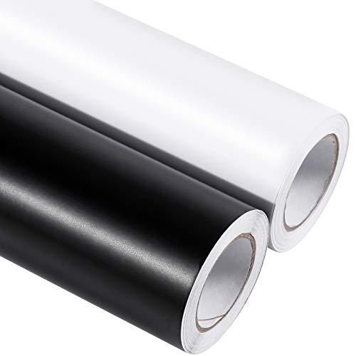2 rollos de vinilo autoadhesivo de 12 pulgadas por 20 pies, rollo de vinilo permanente mate (negro y blanco) con papel de transferencia...