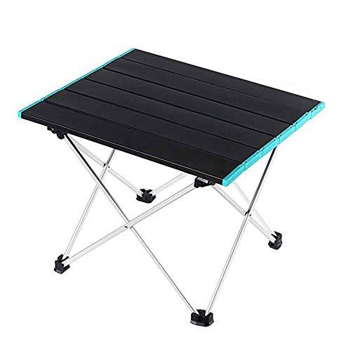 Xhtoe Mesa de picnic portátil plegable mesa de camping picnic playa escritorio de aleación de aluminio ligero portátil (tamaño: M; color: borde azul)