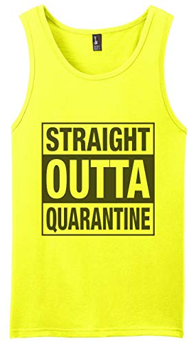 Graphic Novelty Adult Social Distancing Shirt Straight Outta Quarantine Muscle Shirt Tank Top 2XL Neon Yellow