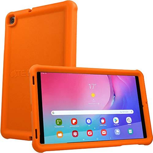 TECHGEAR Bumper Hülle für Samsung Galaxy Tab A 10,1 2019 (SM-T510 / T515) [Kinderfreundlich] Tough Schutzhülle Silikon Soft Shell Anti-Rutsch-Shockproof verstärkte Ecken + Displayschutzfolie -Orange