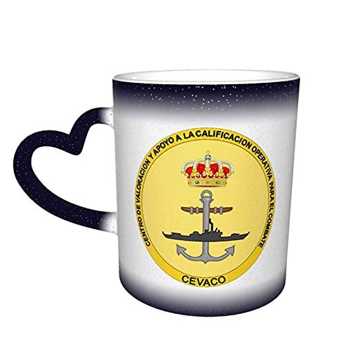 Taza de cerámica con diseño de emblema de la Armada Española para combate, calificación operativa y evaluación personalizada sensible al calor que cambia de color taza en el cielo Magic Funny Art