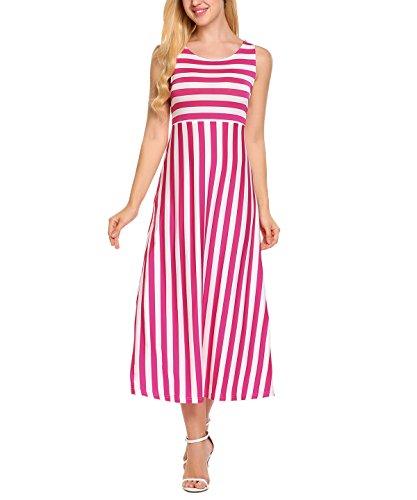 Meaneor dames mouwloos maxi-jurk strandjurk zomerjurk gestreepte jurk vloerlengte ronde hals casual zwart wit maat S-XXL