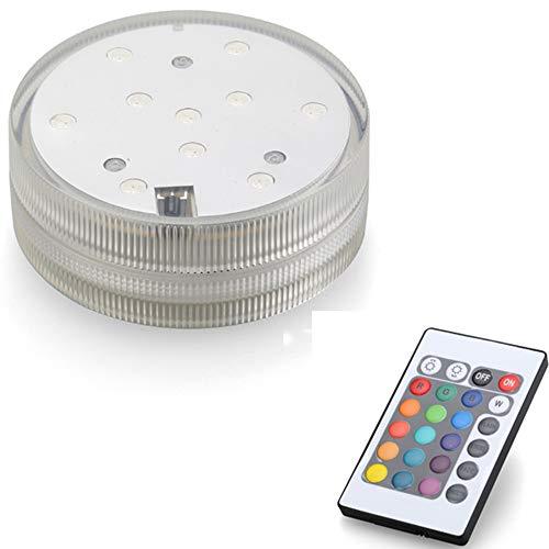 Multicolor Fernbedienung RGB LED-UnterwasserbeleuchtungWasserdichte Farbwechsel LED Magic Light für Vase Base,Floral, Aquarium,Teich,Hochzeit (1-piece-round)