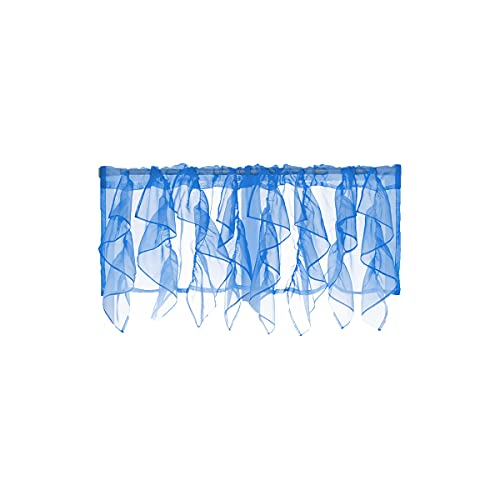 PearAge Waterfall Type Blue Sheer Voile Ruffled Valance Blackout Window Tasseles Curtain Valance for Living Room,Bedroom Basement 50 by 16-Inch ( Blue,1 Piece)