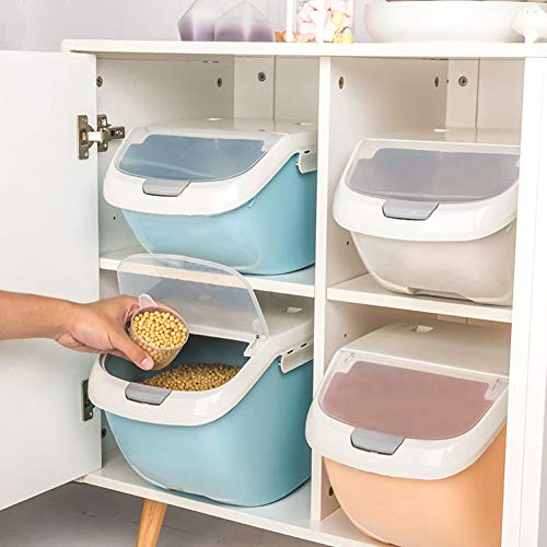 YSoutstripdu Caja De Almacenamiento De Arroz De 6 Kg | Dispensador De Granos De Cereales para Alimentos con Tapa Abatible, Contenedor Organizador De Alimentos para Cocina Azul SNone