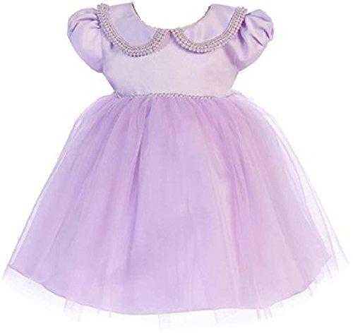 Little Baby Girls Classic Cap Sleeve Pearl Collar Tulle Flower Girl Dress Lavender M (J27K38)
