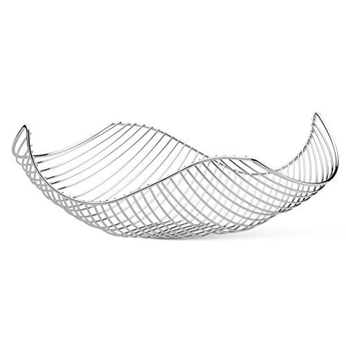 Vistella Fruit Bowl Basket in Silver Chrome - 6 Colors Available - Stainless Steel Wire Design with a Modern Decorative Style - Great Countertop Centerpiece