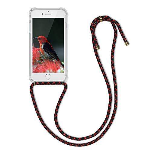 kwmobile Carcasa con Cuerda Compatible con Apple iPhone 7/8 / SE (2020) - Funda Transparente de TPU con Cuerda para Colgar en el Cuello