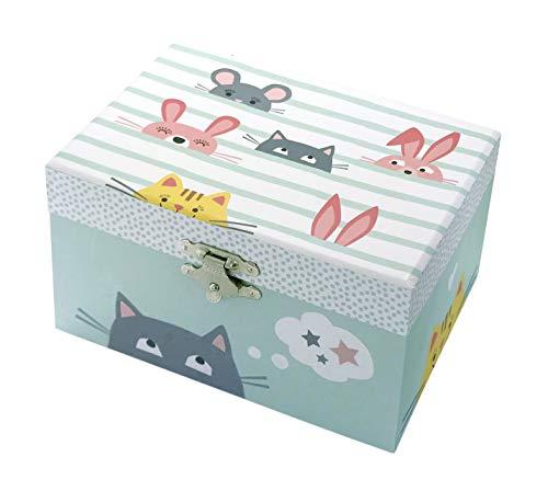 Trousselier - Katze - Schatztruhe - Spieluhr - Ideales Kindergeschenk - Phosphoreszierend - Leuchtet im Dunkeln - Musik Let It Be von den Beatles - Farbe grün - seladongrün