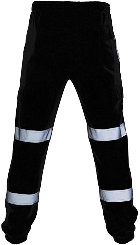 Mens Reflective Cargo Pants Road Work Overalls High Visibility Casual Sport Joggers Sweatpants Safety Rain Trouser